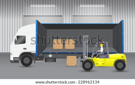 Forklift transfer wood crate into truck with factory background. - stock vector
