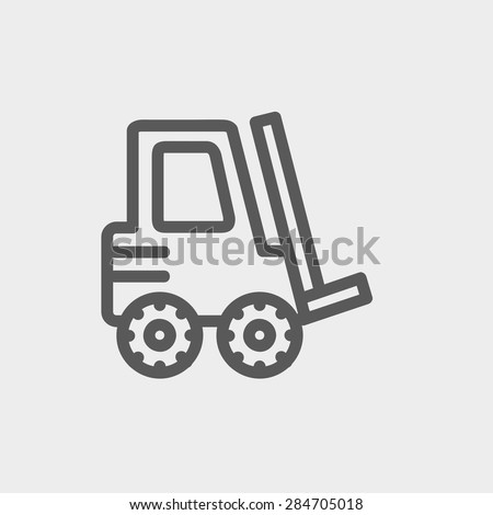 Forklift truck icon thin line for web and mobile, modern minimalistic flat design. Vector dark grey icon on light grey background. - stock vector