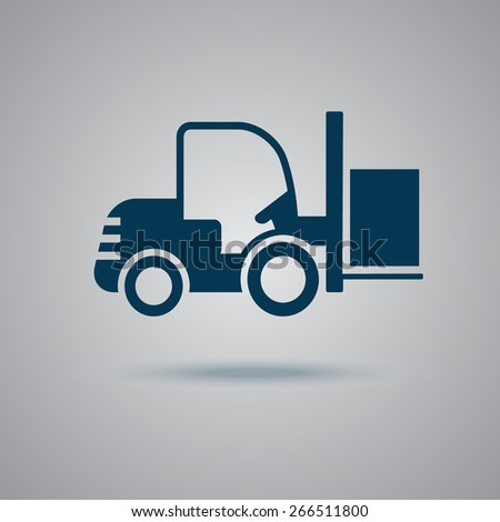 Forklift, truck, icon, vector, illustration  - stock vector
