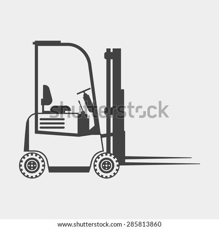 Forklift truck monochrome icon - stock vector