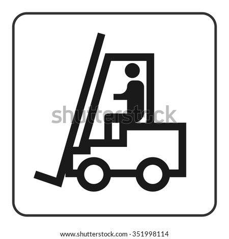 Forklift truck sign. Black lift-truck icon with the silhouette of a man emblem isolated in square on white background. Symbol of logistic, delivery, industrial, transport of goods. Vector illustration - stock vector