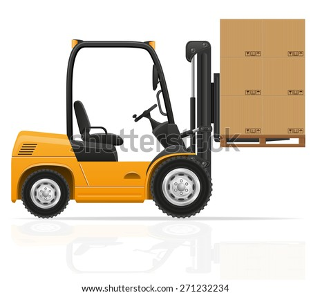 forklift truck vector illustration isolated on white background - stock vector