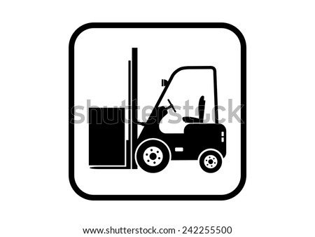 Forklift vector icon on white background - stock vector