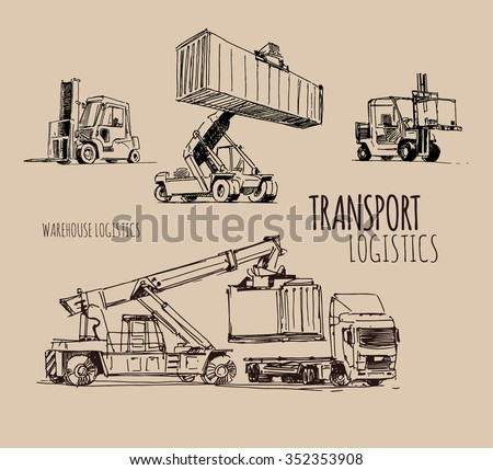 forklift with container. Hand drawn sketch illustration - stock vector