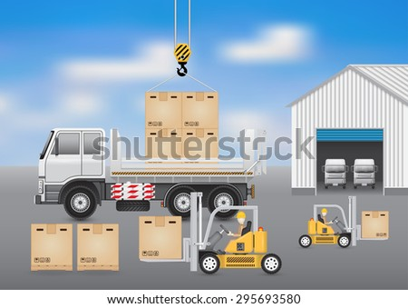 Forklift working with carton and truck with sky background. - stock vector