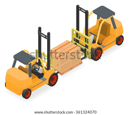 Forklifts elevate the pallet with cardboard boxes - two isometric views vector illustration - stock vector