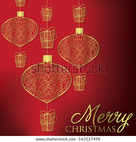 Formal Christmas filigree card in vector format. - stock vector