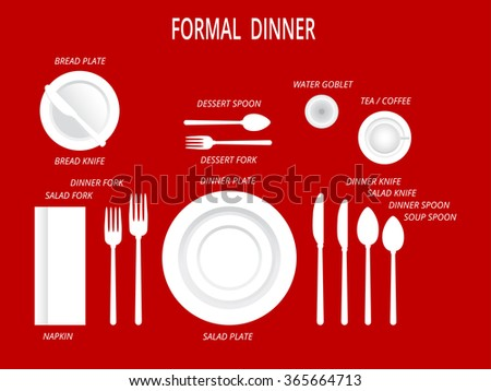 Formal Dinner Place Settings Dinner Table Stock Vector