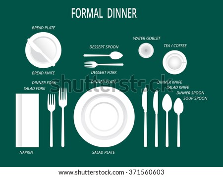 Formal Dinner Place Settings. Dinner Table Set. Set For Food And Drink.  Dinner