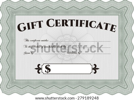 Formal Gift Certificate. Border, frame.With guilloche pattern and background. Excellent complex design.  - stock vector
