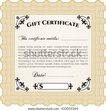 Formal Gift Certificate. Lovely design. Complex background. Customizable, Easy to edit and change colors.  - stock vector