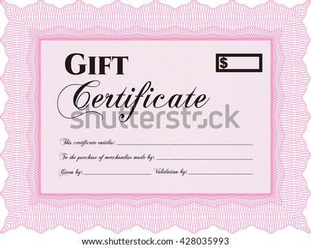 Formal Gift Certificate template. Retro design. With guilloche pattern.