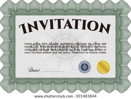 Formal invitation template. Border, frame.Sophisticated design. With quality background.  - stock vector