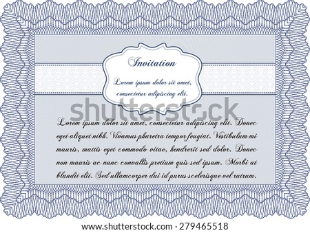 Formal invitation template. With complex background. Artistry design. Border, frame. - stock vector
