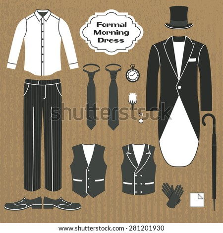 Formal morning dress. Set of clothing for men. Dress code for gentlemen.