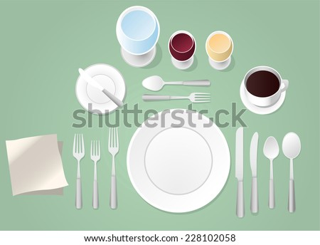 Formal place setting vector illustration - stock vector