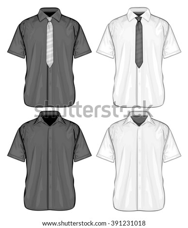 Formal shirts (button-down collar) with and without neckties. Short sleeve. Vector illustration.