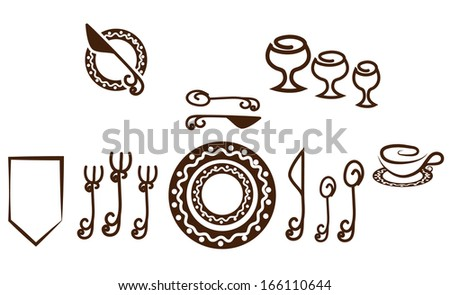 Formal Table setting placement. Artistic design tableware. Isolated on a white background. - stock vector