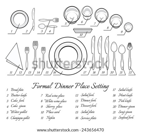 Formal table setting. The plan for the cutlery on the table. Vector illustration  sc 1 st  Shutterstock & Formal Table Setting Plan Cutlery On Stock Vector 243656470 ...