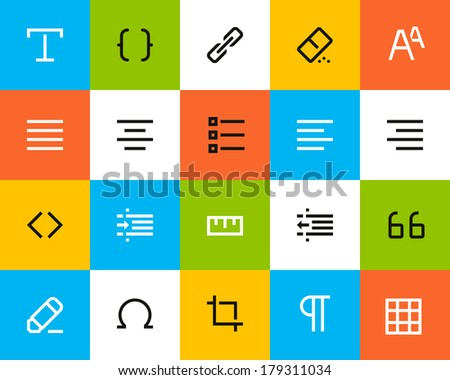 Formatting and editing icons. Flat style - stock vector
