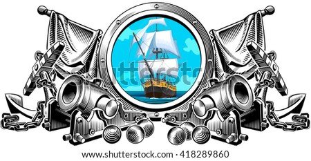 Former naval concept. Vector illustration. Graphic arts