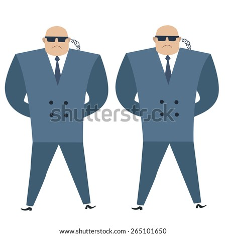 Formidable security professionals secret service bodyguards. The same strong men in blazers guard cordon - stock vector