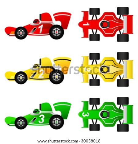 formula car set - stock vector