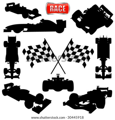 formula cars, flag and icon - stock vector
