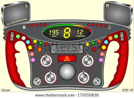 Formula one Steering Wheel - Dashboard - stock vector