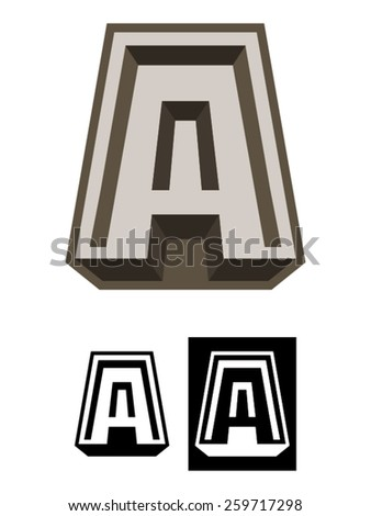 Fort A is a illustration usable as template logo and representing the letter A built like a fortress. Perfect for business security, anti virus, construction, etc. - stock vector