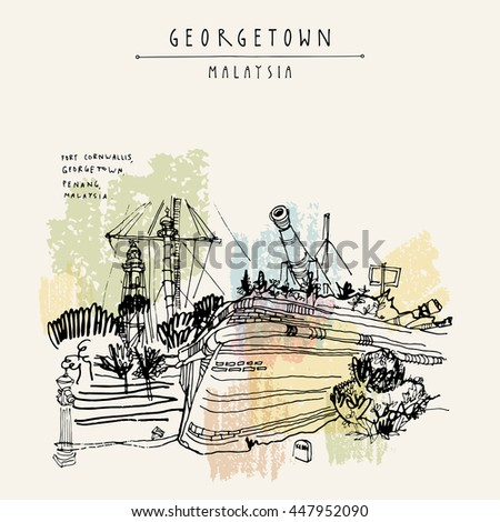 Fort Cornwallis in Georgetown, Penang, Malaysia, Southeast Asia. Wall, canons. Hand drawing. Travel sketch. Book illustration, postcard or poster in vector