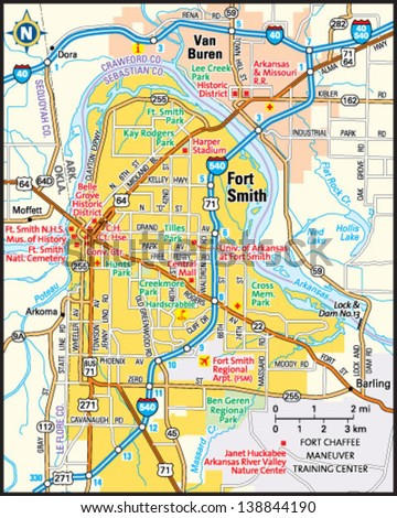 Fort Smith Arkansas Area Map Stock Vector HD Royalty Free