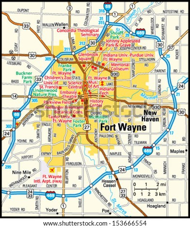 Fort Wayne, Indiana area map - stock vector