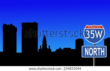 Fort Worth skyline with interstate 35W sign vector illustration - stock vector