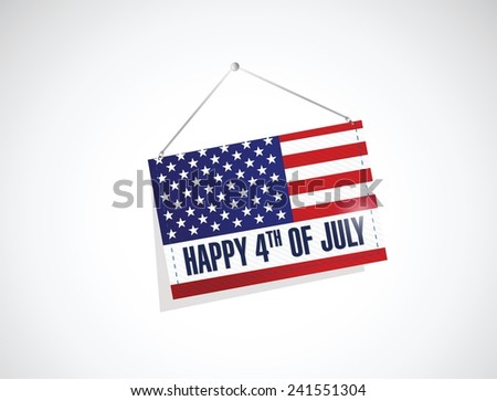 forth of july us hanging flag illustration design over a white background - stock vector