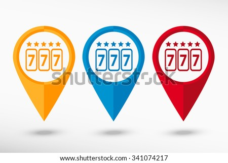 Fortune 777 map pointer, vector illustration. Flat design style