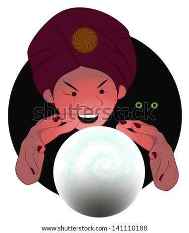 Fortune-teller at Work - A diviner reading the future in the crystal ball - stock vector