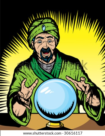 Fortune teller looking into globe.  Globe and guru are on separate layers, and can be removed.
