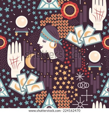 Fortune teller themed seamless pattern with gypsy fortune teller woman, tarot cards, palmistry icons, and other divination symbols. - stock vector