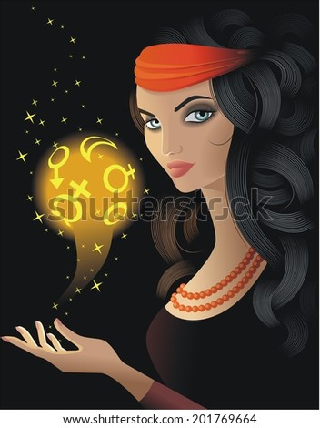 Fortune-teller with a gold magic ball - stock vector
