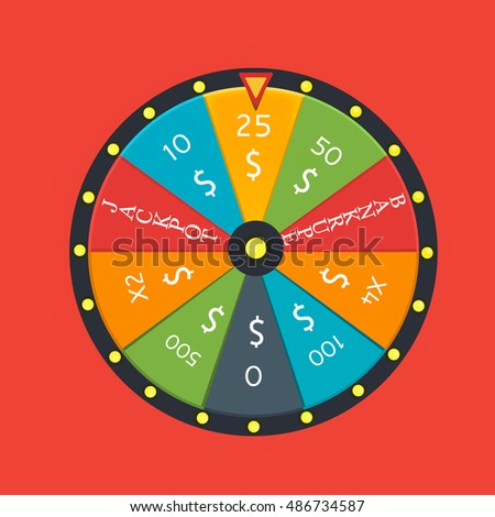 Fortune wheel in flat style. Game money, winner play luck.