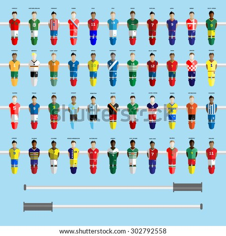 Forty-four Football Club Soccer Players silhouettes. Computer game Soccer team players big set. Sports infographic. Digital background vector illustration. - stock vector