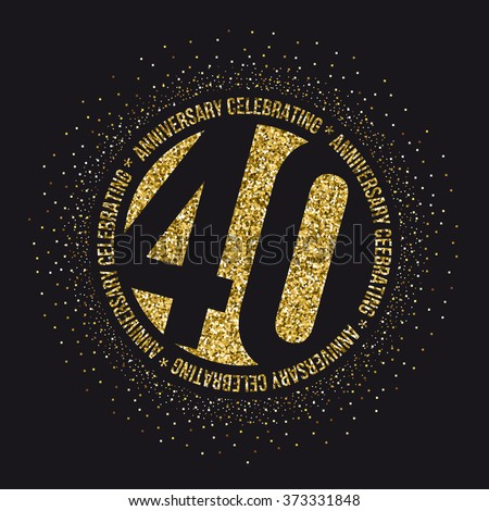 Forty years anniversary celebration logotype. 40th anniversary logo. - stock vector