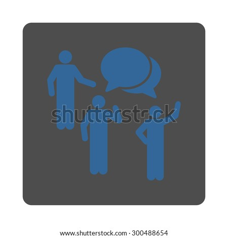 Forum icon. This flat rounded square button uses cobalt and gray colors and isolated on a white background. - stock vector