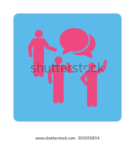 Forum icon. This flat rounded square button uses pink and blue colors and isolated on a white background. - stock vector