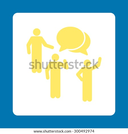 Forum icon. This flat rounded square button uses yellow and white colors and isolated on a blue background. - stock vector