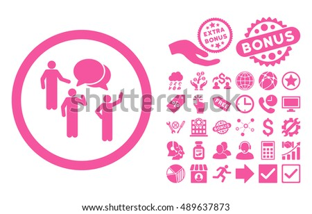 Forum Persons icon with bonus pictures. Vector illustration style is flat iconic symbols, pink color, white background.