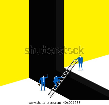 Forward together / Help each other and go forward together. - stock vector
