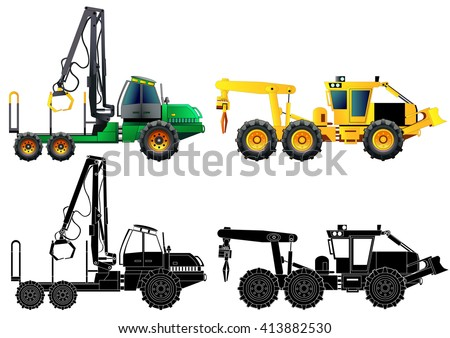 Forwarder forestry vehicle. Grapple skidder forestry vehicle. Side-view and silhouettes. Vector illustration, isolated on white. Flat style