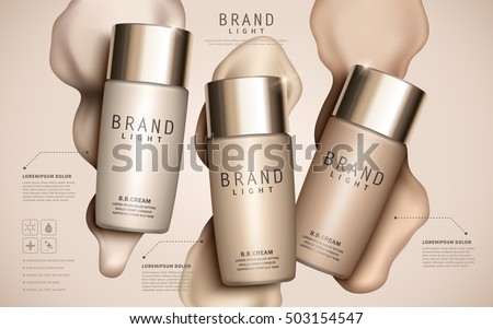 Foundation ads template, makeup mockup for ads or magazine liquid foundation background. 3D illustration.